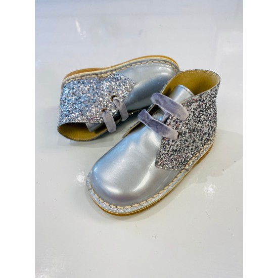 00145 Silver Glitter Ankle Boot