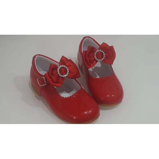 Diamante Butterfly Red  patent Leather Mary Jane