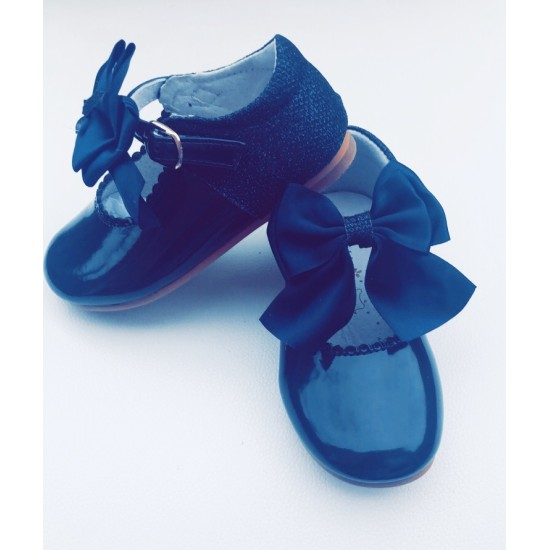 Glitter Mary Jane Navy  Bow Patent Shoe
