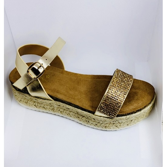 Gold  Diamanté Flatform. 2974