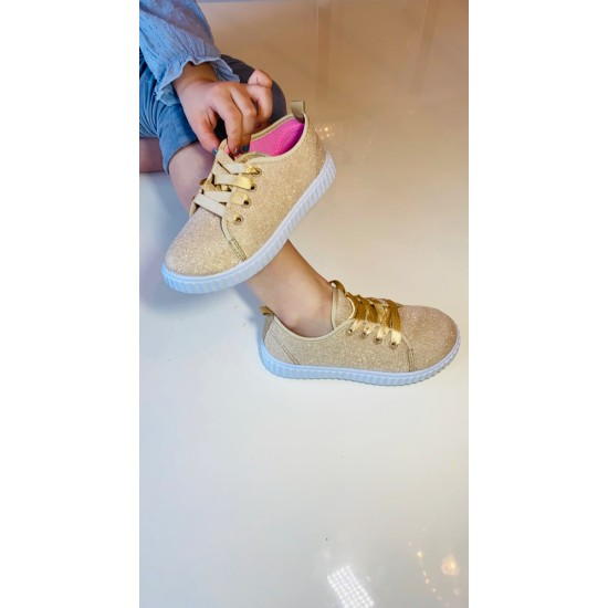 Gold Glitter Lace up Canvas 2266