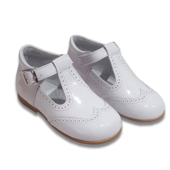 Harris T-Bar Boys Leather Patent White 6271