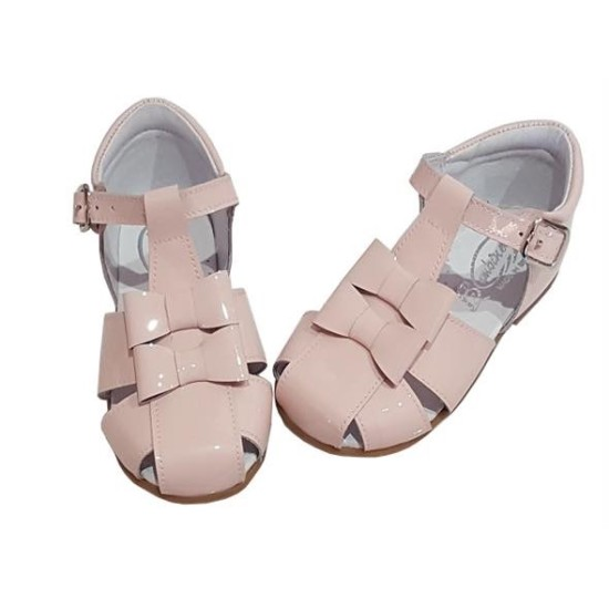 Leather Bow Sandal Pink