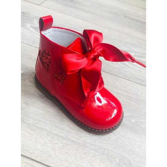 UE31432E Red Glitter Heart Boots