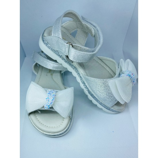 Silver and White Glitz Bow Sandal 2966