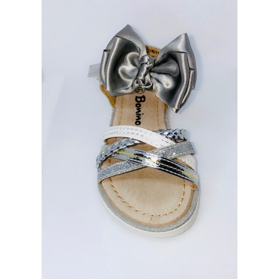 Silver Metallic and Sparkle Girls Sandal 167A12