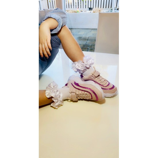 Pink Glitter Chunky Trainer